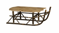 """""""Quick Ship"""" Rustic Hickory Sleigh Coffee Table"""