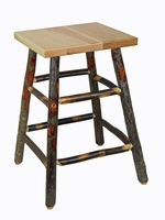 "Rustic Hickory Square 24"" No Back Bar Stool"