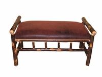 Rustic Hickory Upholstered Bench Faux Leather