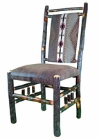 Rustic Hickory Upholstered Dining Chair with Spindle Side and Top - Southwest Stripe