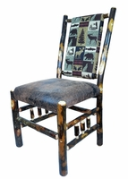 Rustic Hickory Dining Chair with Spindle Sides and upholstered seat and back- Cabin Collection Brown Fabric
