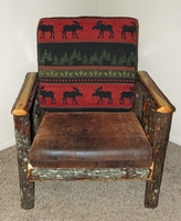 Rustic Hickory Upholstered Living Room Chair with Red Moose Fabric