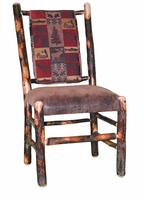 Rustic Hickory Upholstered Seat and Back Dining Chair (The Cabin Collection Fabric shown)