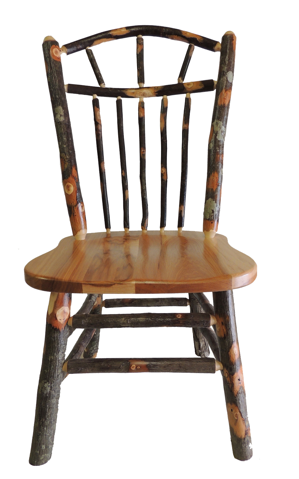 Rustic Hickory Wagon Wheel Spindle Back Kitchen Chair
