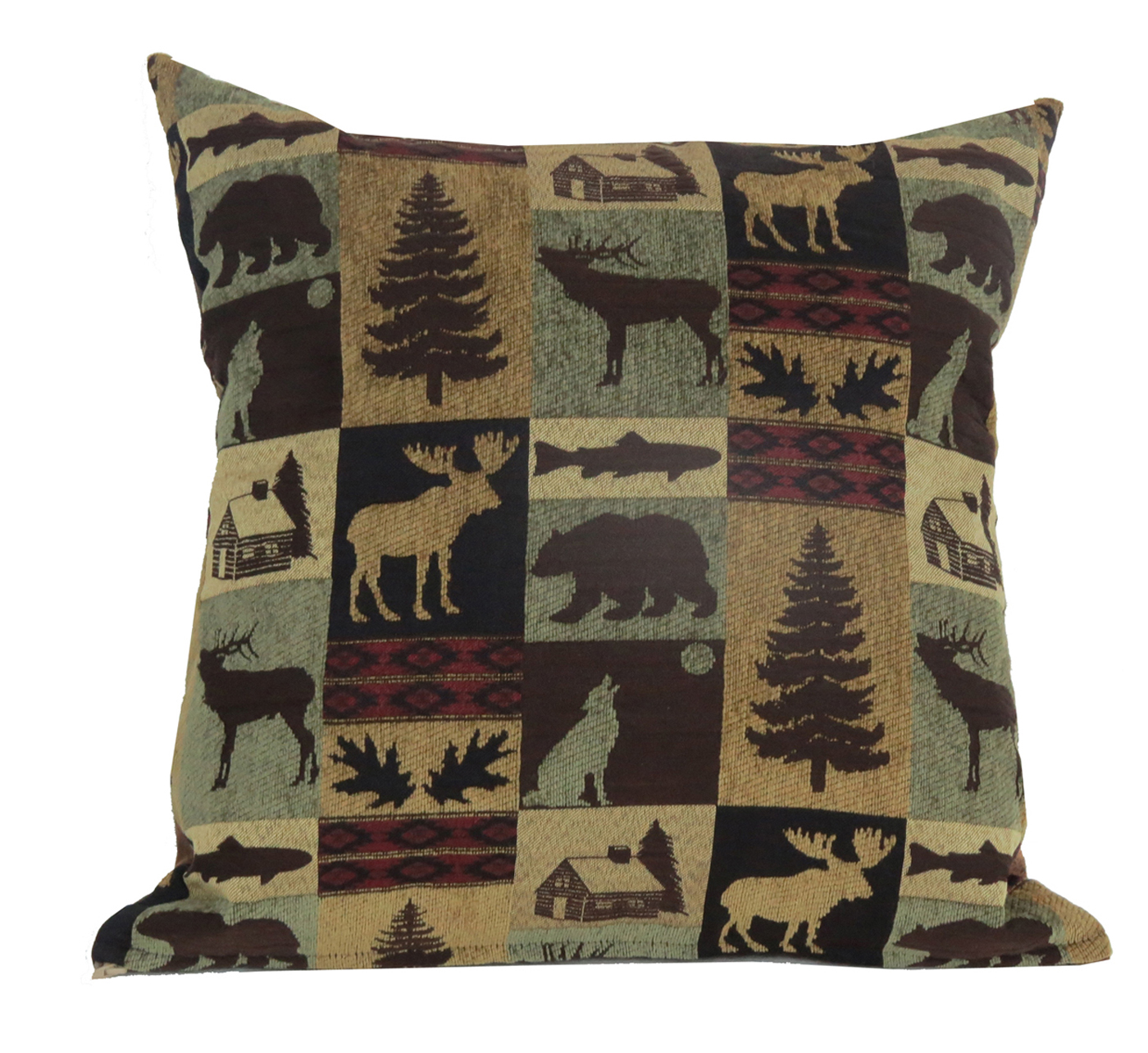 Rustic Throw Pillow Brown Cabin Fabric