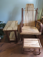 Walnut Wormy Maple Rocker 3 Piece Set