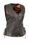 Women's Snap Front Vest with Lacing on Shoulder/Back