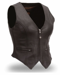 Womens Motocycle Leather Vests