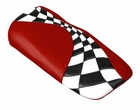 5-13 Custom 2-tone Leather Console Cushion / Victory Red - Black Sides- Checkered Flag