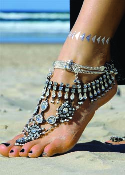 Ancient Dance Silver Barefoot Sandals