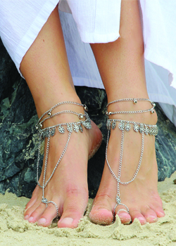 Destiny Silver Barefoot Sandals