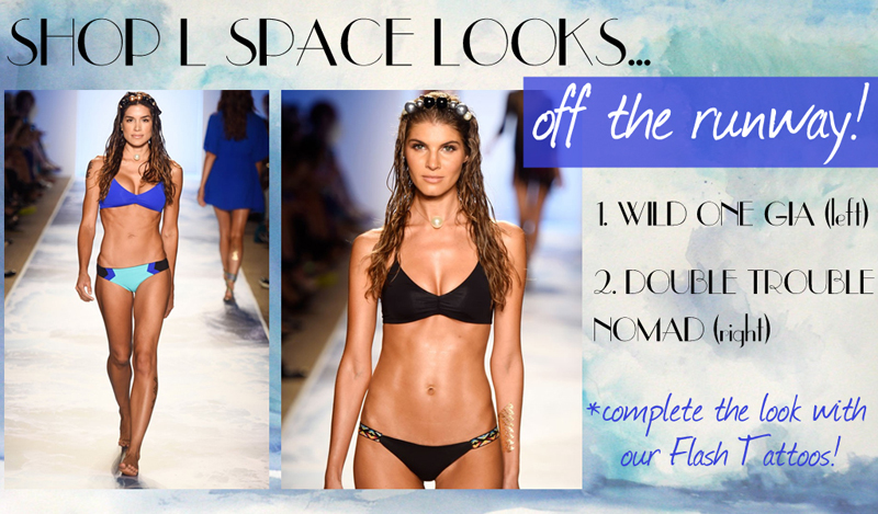 L Space Swimwear, L Space Bikini, L Space by Monica Wise, L Space Fashion Week 2014 Runway, Flash Tattoos