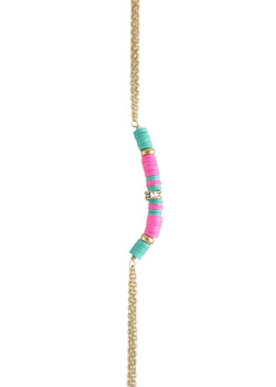 2015 Ettika<br>Pink and Turquoise Surf Up Body Chain