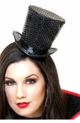 Mini Black Sequin Top Hat