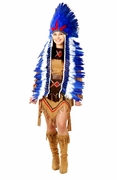 Native American Chief Headdress- Blue & White