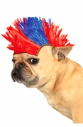 Red and Blue Mohawk Wig for Pets