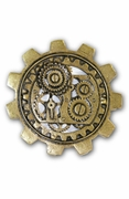 Steampumk Bronze Large Gear Brooch