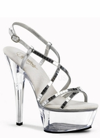 "6"" Clear Base Silver Mirror Strap Shoe Spike Heel Pleaser Kiss-213slv"