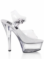 "6"" Clear Spike Heel Shoe Pleaser Kiss-208"
