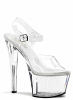 "7"" Clear Spike Heel Platform with Ankle Straps Shoe Pleaser Sky308"