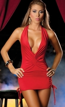 Beautiful Red Plunging Neck Halter Mini Dress
