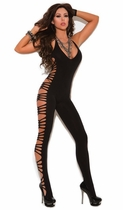 Black Vivace Deep V Opaque Bodystocking with Cut Out Side