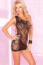 Exotic Black Slashed Seamless Web Dress