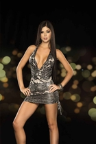 Silver Low Cut Mini Dress with Halter Back