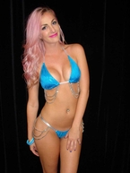 Turquoise Sparkle Beaded Showgirl Thong and Bra Set