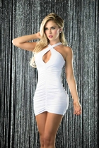 White Criss Cross Ruched Mini Dress