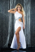 White One Shoulder Full Length Gown with Cutouts