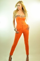 Super stretchy zip-up jumpsuit with crystals
