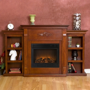 Tennyson Classic Mahogany Electric Fireplace with Bookcases Classic Mahogany Finish