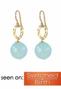 Blue Chalcedony Ball Earrings