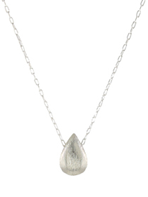 Brushed Silver Teardrop Necklace