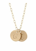 Gold Hammered Large Letter Initial Necklace