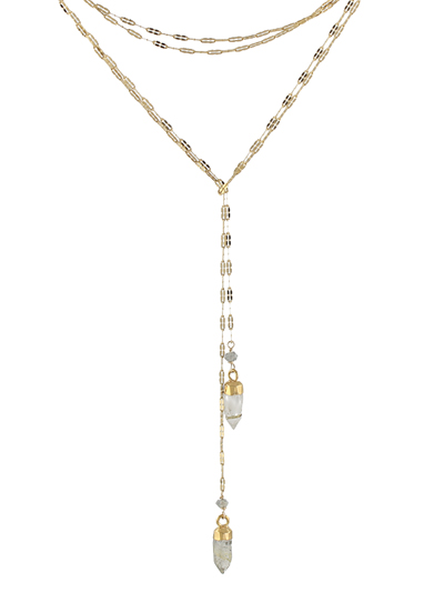 Dapped Chain Lariat Necklace