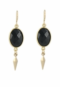 Onyx or Pyrite Point Earrings