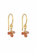 Orange Sapphire Cluster Earrings