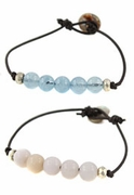 Simple Beaded Leather Bracelets