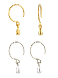 Tiny Gold and Silver Droplet Earrings