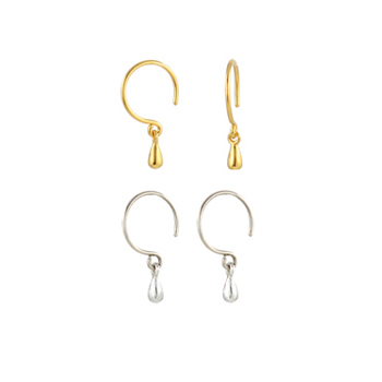 Tiny Gold and Silver Droplet Earrings - Seen on Elementary