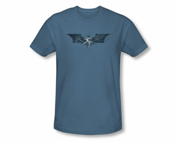 BATMAN T-SHIRT DARK KNIGHT RISES CRACKED GLASS LOGO