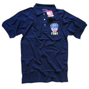 FDNY NEW YORK CITY FIRE DEPARTMENT EMBROIDERED SHIELD GOLF POLO SHIRT