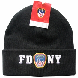 FDNY NEW YORK CITY FIRE DEPARTMENT EMBROIDERED SHIELD KNIT HAT