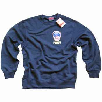 FDNY NEW YORK CITY FIRE DEPARTMENT EMBROIDERED SHIELD SWEATSHIRT, EMBROIDERED