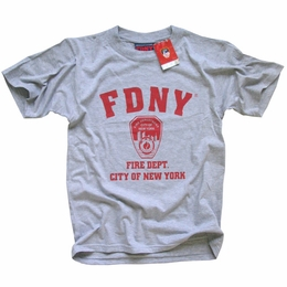 FDNY NEW YORK CITY FIRE DEPARTMENT SCREEN PRINTED SHIELD T-SHIRT