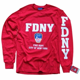 FDNY NEW YORK CITY FIRE DEPARTMENT SCREEN PRINTED SHIELD T-SHIRT, LONG SLEEVE