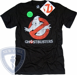 GHOSTBUSTERS T-SHIRT DISTRESSED GLOW IN THE DARK LOGO TEE