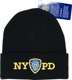 NYPD KNIT HAT NEW YORK CITY FIRE DEPARTMENT EMBROIDERED SHIELD